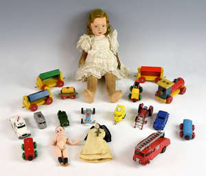 Lehmann Sportswagen marked to base 'Marke Lehmann Speilzeug Gnom Nr807', a Matchbox Volkswagen Camper No.34, a Dinky Fire Engine 955, a Norah Wellings felt headed doll with velvet body, other porcelain dolls and Brio wooden trains.