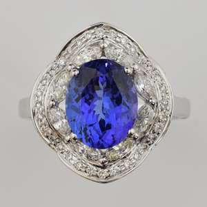 Tanzanite and diamond ring with an oval cut tanzanite of  4.00 carats