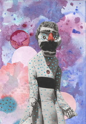 'The Puppet' medium: acrylic and collage  PLEASE NOTE THAT FINAL INVOICES WILL INCLUDE BUYERS PREMIUM AT 27% (INCLUSIVE OF VAT) ADDED TO THE HAMMER PRICE, EWBANK'S ARE WAIVING ALL VENDOR COMMISSION FOR THE CHARITY.