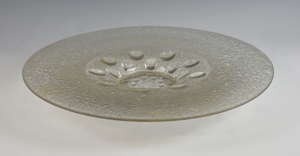French moulded and frosted glass dish in the style of Lalique, 43cm