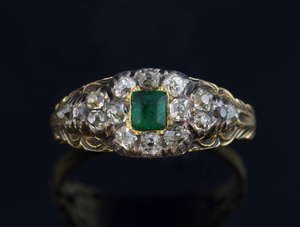 An early Victorian emerald and diamond memorial ring, engraved 27th Dec 1842, ring size P