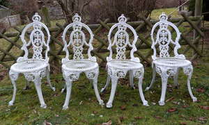 Two white painted garden tables with eight chairs (10)