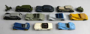 Dinky cars to include Lagonda, Sunbeam Talbot, and Armstrong Siddeley x 10 and two military trailers