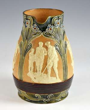 A Royal Doulton glazed stonewear jug, with three panels depicting golfing bordered by stylised flowers, 23 cm high