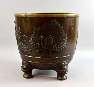 Japanese bronze jardiniere, diameter 41cm