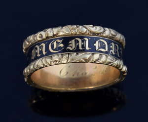 Victorian gold mourning ring the black band of enamel and the words 'In memory of D S