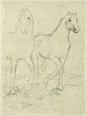 Margaret Hunter (Scottish, b.1948). 'Horses', limited edition print 16/25, signed and titled in pencil, 60cm x 50cm .