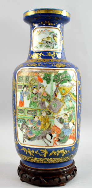 Chinese famille verte Bangchuiping vase, the blue ground decorated in gilt with auspicious objects, flowers and foliage and with panels of jousting figures on horseback, 35cm high, (drilled as a lamp),