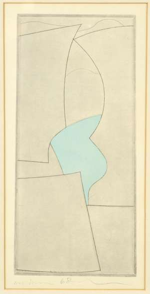 Revised description: After Ben Nicholson (1894-1982). 'Complicated forms', abstract print, NOT HAND SIGNED, PRINTED SIGNATURE dated 1968, 4cm x 14cm.