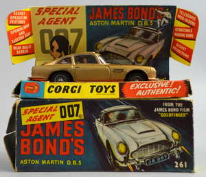 James Bond 007. A boxed Corgi Toys 261 'James Bond 'Aston Martin DB5', with gold paint work. together with an envelope containing 'Secret Instructions'