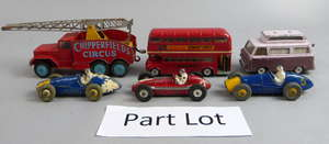 Dinky racing cars Maserati, Ferrari x2,  and a collection of Corgi and other playworn cars