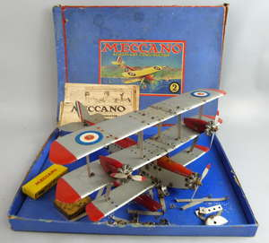 Meccano tri-plane with box and a leaflet,