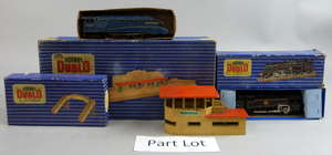 Collection of Hornby Dublo to include EDL18 Standard 2-6-4 tank locomotive, rolling stock, track and other accessories, all in blue and white striped boxes,