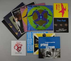 """The Fall - Mint 12"""" Vinyl of 2 different 'Behind The Counter' EP's. 'Why Are People Grudgeful?' 12"""" & 7"""". Primal Scream '(I'm Gonna) Cry Myself Blind' 10"""" with poster"""