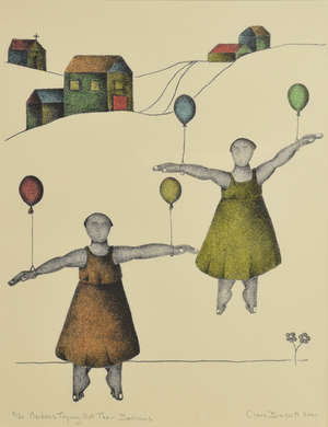 Clare Bassett (b.1954). Maidens trying out their balloons, 8/20, 2001, 33cm x 26cm. And Francis Barker, Cornfield, 28cm x 38cm (2)