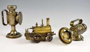 Early 20th century scratch built steam engine and two lamps