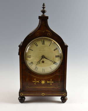 Regency rosewood and brass inlaid mantel clock by Samuel Burley of Birmingham, white enamel dial with black Roman numerals, 60cms high