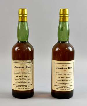 Fine Old Jamaican  Rum 1945, Specially Sellected by Mr Ralph Cobbold of Justterini & Brooks Ltd, for Mr Paul Getty at the Request of Mr John Ringling North  bottled by Messers. Schmid & Gassler of Geneva in 1966, 2 Bottles