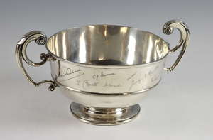 Edward VII silver twin-handled presentation bowl, on round foot, maker's mark rubbed, London, 1901, 42.5oz, 1321g,