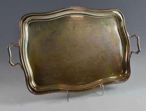 George V silver twin-handled tray of serpentine form, by William Adams Ltd., Birmingham, 1932, 83oz, 2581g,