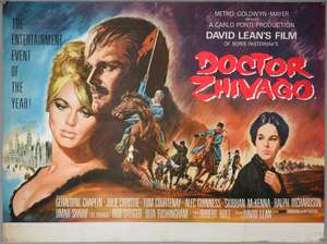 Dr Zhivago (1965) British Quad film poster for this epic starring Omar Sharif & Julie Christie, artwork by Terpning, folded, 30 x 40 inches