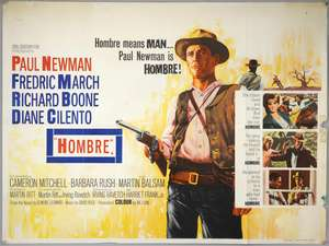 Hombre (1967) British Quad film poster for this western starring Paul Newman, artwork by Tom Beauvais, folded, 30 x 40 inches