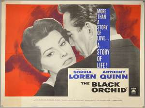 The Black Orchid (1958) British Quad film poster, starring Sophia Loren & Anthony Quinn, folded, 30 x 40 inches