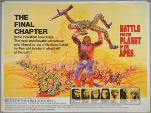 Two Planet of the Apes British Quad film posters, Battle for the Planet of the Apes (1973) & Escape From the Planet of the Apes (1971), folded, 30 x 40 inches (2)
