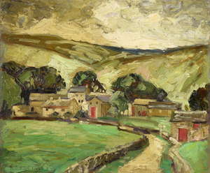 Stuart Somerville 1908-1983, Yorkshire landscape with buildings and a country track, signed and dated 1930 and inscribed verso, oil on board, 25.5cm x 30.5cm,