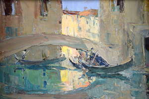 Edward Wesson 1910-1983, Venetian scene with bridge and gondolas, signed with initials, oil on board, 19.5cm x 29.5cm,
