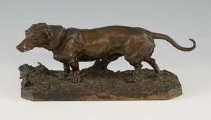 After P. J. Mene, bronze Dachshund on integral base, bearing signature,