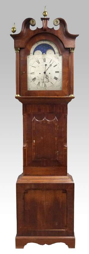 18th century eight day oak and mahogany long case clock, the silvered dial with Roman and Arabic numerals and moon phase, by P. E. Ansell of Lindfield, 245cm high,