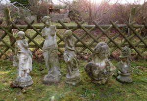 Composition stone statute head and shoulders, four other composite stone figures in classical style (5)
