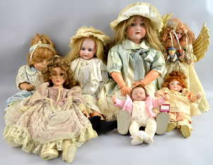 Early 20th century German bisque headed doll another by Armand Marseille and a collection of modern dolls