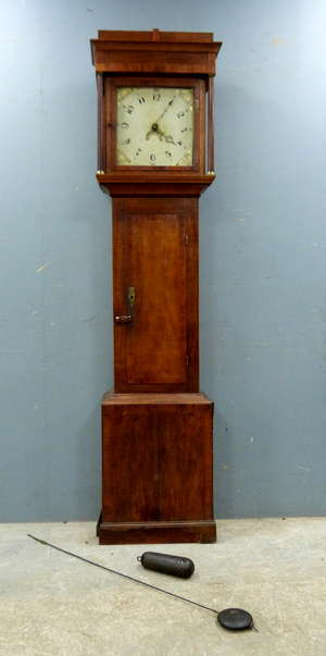 18th century mahogany 30-hour long case clock, the painted dial with Arabic numerals subsidiary date dial to weight driven movement striking on bell , , 198cm high