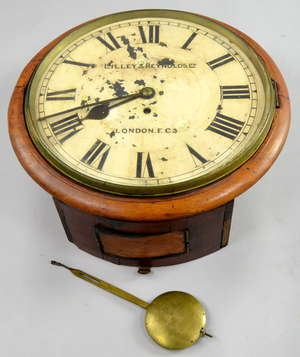 Mahogany cased round wall clock, with single fusee movement, the painted dial with Roman numerals, by Lilley & Reynolds Ltd., London, EC3