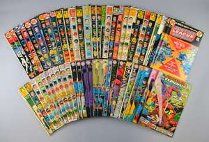 Justice League America (DC) 130+ comics from 1961 onwards, No's 3, 4, 7, 8, 9, 11, 13, 15-19, 23, 25, 26, 28, 30-33, 35-37, 39-56, 58-112, 114, 115, 117, 119-125, & duplicates