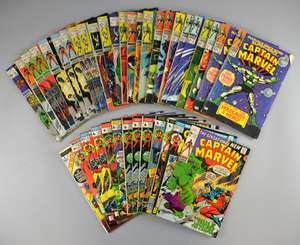 Captain Marvel (Marvel) 39 comics from No 1 issue 1967 onwards, No's 1-6, 8-21, 23, 25-30, 34 & duplicates