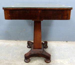 A pair of mahogany wine tables, an oak footstool with hairy paw feet, a mahogany side table on column support and a dining chair. (5)