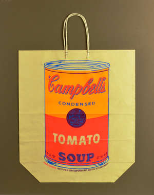 Andy Warhol (American, 1928-1987). 'Campbell's Shopping Bag', screenprint in colours on a shopping bag, 1966, from the edition of unknown size, published for a Warhol exhibition at and by the Institute of Contemporary art, Boston, Massachussets. Over