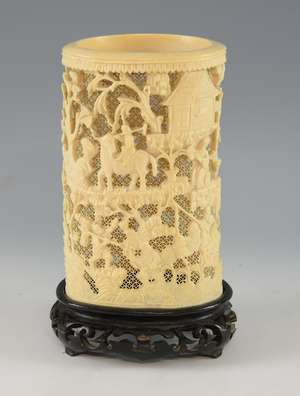 3b88fbae3078 19th century Chinese relief carved ivory tusk with figures in a landscape  setting
