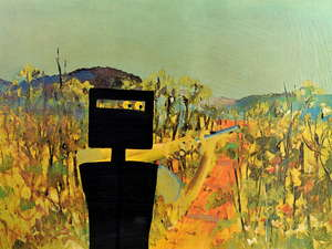 § Sidney Robert Nolan (Australian, 1917-1992). 'First Class Marksman', from the Ned Kelly series. Limited edition screenprint in colours, signed and numbered 37 / 75 in pencil to lower margin. 48 x 64cm. Framed, frame size: 59 x 74.5cm.