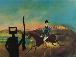 § Sidney Robert Nolan (Australian, 1917-1992). 'Kelly and Policeman', from the Ned Kelly series. Limited edition screenprint in colours, signed and numbered 34 / 75 in pencil to lower margin. 48 x 64cm. Framed, frame size: 59 x 74.5cm.