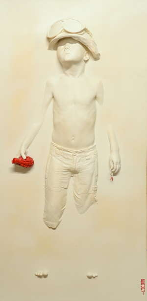 § Tristan Schoonraad (British) Limited Edition plaster cast Boy with Grenade, signed, dated 2010, 6/10, 140 x 70 cm  Provenance: Purchased Esmond Robinson 2010, Sold with copy of receipt. ARTIST RESALE RIGHT UP TO A MAXIMUM OF 4% MAYBE PAYABLE IN A