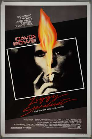 David Bowie - Ziggy Stardust & The Spiders From Mars (1983 1st release) US One Sheet film poster, rolled, 27 x 41 inches. Provenance: With receipt & certificate.