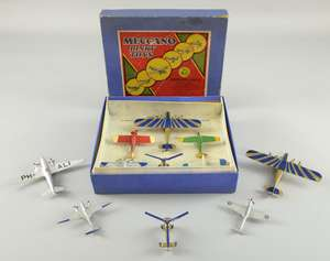 Dinky Toys, pre-war gift set No.60 aeroplanes set, comprising 60A Imperial Airways Airliner, 60B Leopard Moth, 60C Percival gull, 60D low wing monoplane, 60E General Monospar and 60F Gierva Autogiro, in the original blue box ( not strung ) 60t Dougla