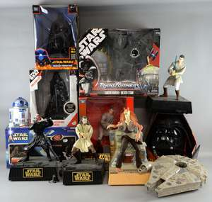 Star Wars - Boxed toys including Transformers Darth Vader / Death Star, Episode 1 Obi Wan Kenobi Interactive Talking Bank, Revenge of Sith Darth Vader voice changer, Radio Alarm Clock, Electronic Talking Bank, Attack of The Clones Slave 1 and four 3D