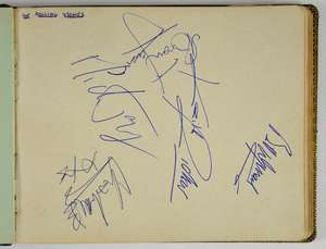 The Rolling Stones - A set of Autographs, circa 1964 on a large album page, signed in blue by Mick Jagger, Keith Richards, Bill Wyman, Charlie Watts & Brian Jones, 6.5 x 8 inches, the album also contains two loose pages signed by The Hollies. Provena
