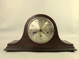 Mid-20th Century triple-chain Napoleon-hat mantle clock, with Westminster chime, W: 44cm x H: 23cm