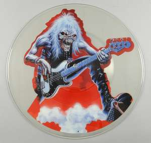 Iron Maiden - Fear of the Dark / Hooks In You - Live (1993) Extremely Rare Promotional 7 Uncut Picture Disc Test Pressing on EMI label 1993.  History - The Vendor acquired the record from somebody who worked in the Pressings Department at Orlake Rec